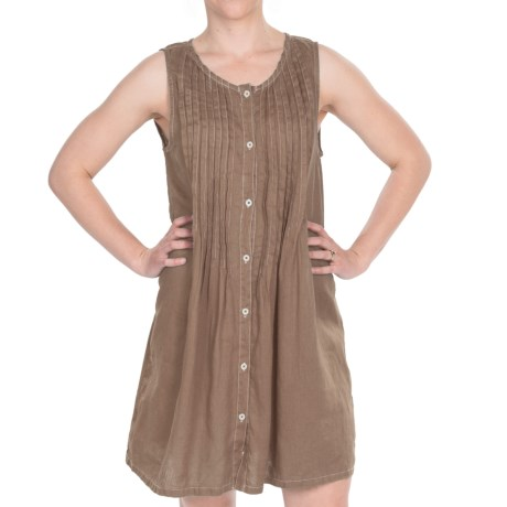 Dylan by True Grit Vintage Pintuck Dress - Linen, Sleeveless (For Women) in Earth