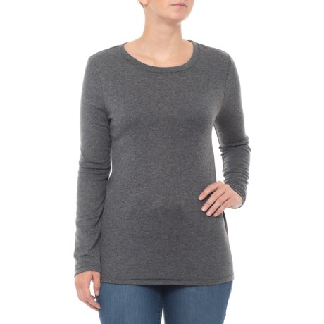 Dylan Charcoal Heather Lace T Shirt Long Sleeve For Women In