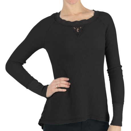 dylan Chenille Lace Thermal Shirt - Long Raglan Sleeve (For Women) in Charcoal Black