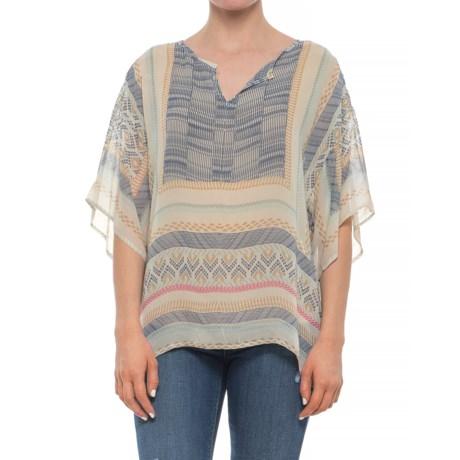 dylan Chiffon Slit Shirt - Short Sleeve (For Women) in Natural/Denim