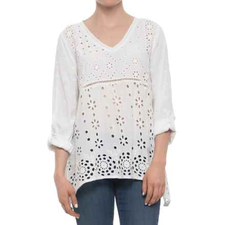 dylan Coquette Embroidered Challis Shirt - Long Sleeve (For Women) in Vintage White - Closeouts