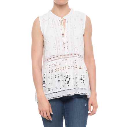 dylan Coquette Embroidered Challis Shirt - Sleeveless (For Women) in Vintage White - Closeouts