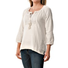dylan Crochet Peasant Blouse - 3/4 Sleeve (For Women) in Perfect White - Closeouts