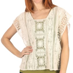 dylan Crochet Shirt - Cotton Patchwork, Sleeveless (For Women) in Natural