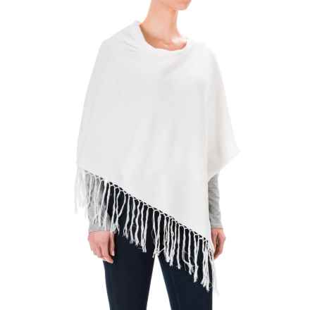 dylan Crop Fringe Poncho (For Women) in White - Closeouts