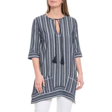 dylan Dark Indigo Foundry Stripe Tunic Dress - Elbow Sleeve (For Women) in Dark Indigo - Closeouts