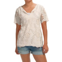 dylan Daydream Eyelet Blouse - Silk-Cotton, Short Sleeve (For Women) in White - Closeouts