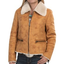 dylan Distressed Cabin Coat - Faux Shearling (For Women) in Vintage Gold - Closeouts