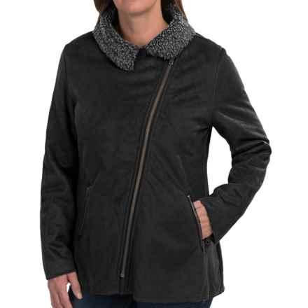 dylan Distressed Pile Biker Jacket - Faux Suede, Fleece Lining (For Women) in Black - Closeouts