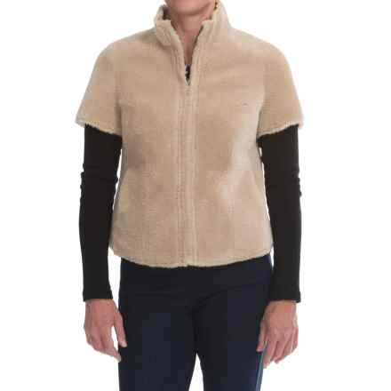 dylan Distressed Shearling Cabin Coat - Short Sleeve (For Women) in Natural - Closeouts