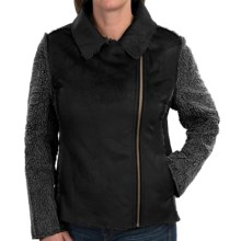 dylan Distressed Suede Bomber Jacket (For Women) in Black - Closeouts