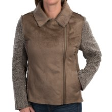 dylan Distressed Suede Bomber Jacket (For Women) in Jungle Olive - Closeouts