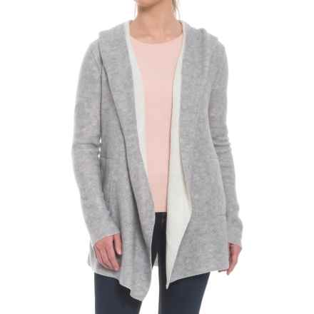 dylan Double-Face Marled Blend Cardigan Sweater - Open Front (For Women) in Heather/White - Closeouts