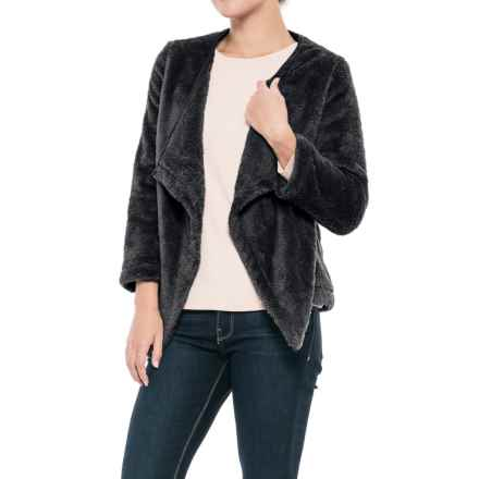 dylan Double Plush Cozy Cardigan Jacket - 3/4 Sleeve (For Women) in Black - Closeouts