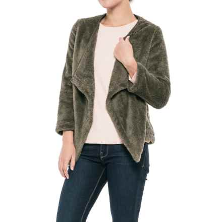 dylan Double Plush Cozy Cardigan Jacket - 3/4 Sleeve (For Women) in Cargo - Closeouts