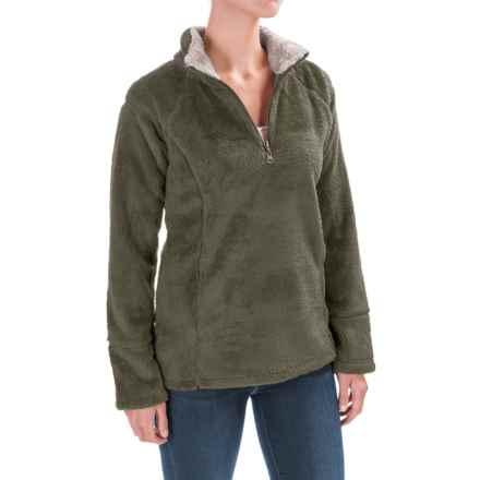 dylan Double Plush Sweatshirt - Zip Neck, Contrast Trim (For Women) in Cargo - Closeouts