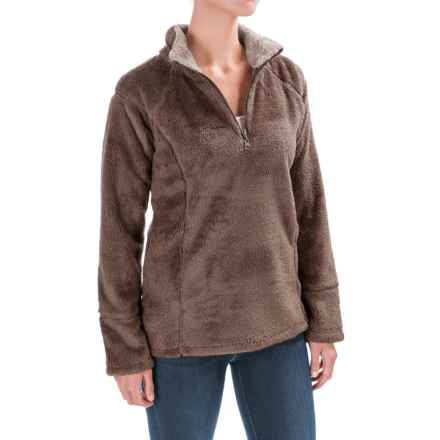 dylan Double Plush Sweatshirt - Zip Neck, Contrast Trim (For Women) in Vintage Brown - Closeouts
