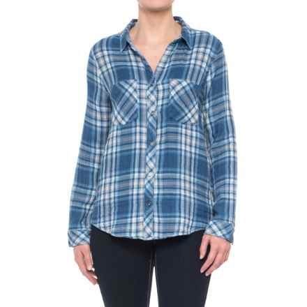 dylan Double-Weave Plaid Work Shirt - Long Sleeve (For Women) in Indigo - Closeouts