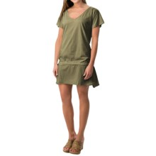 dylan Drop Tie Tunic Dress - Short Sleeve (For Women) in Dirty Olive - Closeouts