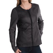 dylan Edgy Sweatshirt Jacket - Faux Leather, Fleece Lining (For Women) in Black - Closeouts