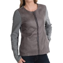 dylan Edgy Sweatshirt Jacket - Faux Leather, Fleece Lining (For Women) in Grey - Closeouts