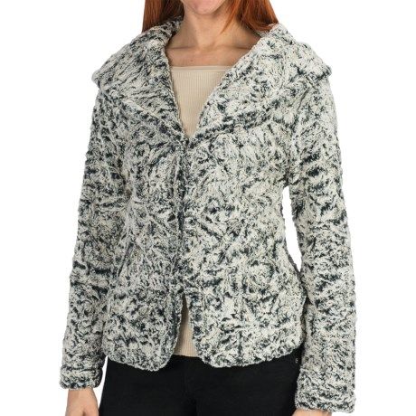 dylan Embossed Silky Hooded Jacket - Faux Fur (For Women) in Black/Natural