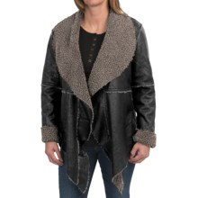 dylan Embossed Suede Pile Coat - Reversible, Long Open Front (For Women) in Black - Closeouts