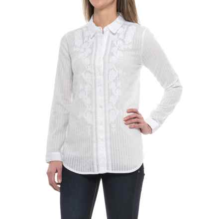 dylan Embroidered Side-Slit Shirt - Long Sleeve (For Women) in White/White - Closeouts