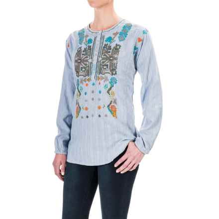 dylan Embroidered Tunic Shirt - Long Sleeve (For Women) in Chambray - Closeouts