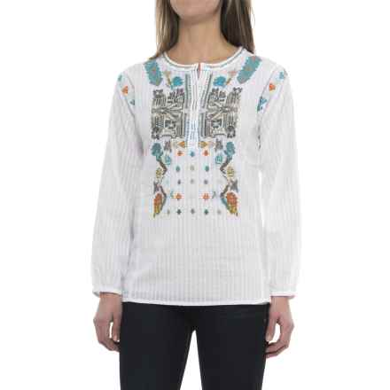dylan Embroidered Tunic Shirt - Long Sleeve (For Women) in White/Multi - Closeouts