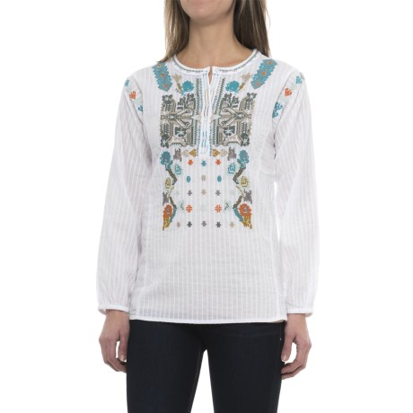dylan Embroidered Tunic Shirt - Long Sleeve (For Women)