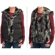 dylan Faux-Fur Reversible Vest - Attached Hood, Insulated (For Women) in Texture Black - Closeouts