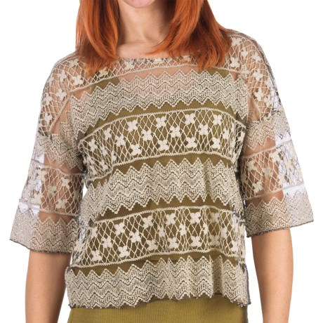 dylan Floaty Lace Shirt - 3/4 Sleeve (For Women) in Vintage Brown