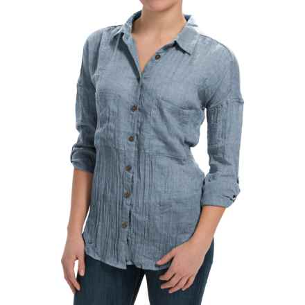 dylan Flyaway Split-Back Shirt - Long Sleeve (For Women) in Denim - Closeouts