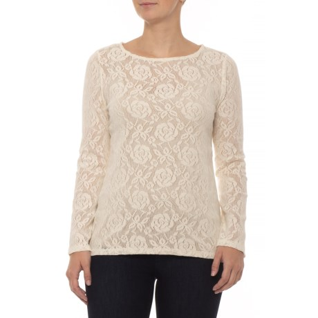 Dylan Fresh White Stretch Lace Shirt Long Sleeve For Women In