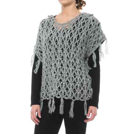 dylan Fringed Open-Crochet Sweater - Hooded, Short Sleeve (For Women) in Charcoal - Closeouts