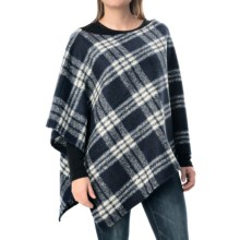 dylan Fuzzy Fireside Plaid Poncho (For Women) in Navy - Closeouts
