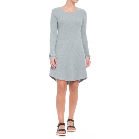 dylan Heathered Cotton Slub Waffle Crew Seamed Dress - Long Sleeve (For Women) in Pool
