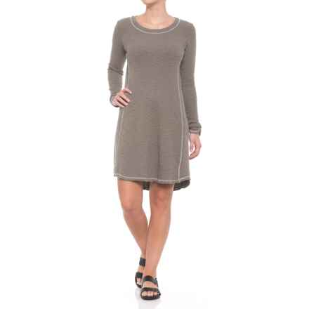 dylan Heathered Cotton Slub Waffle Crew Seamed Dress - Long Sleeve (For Women) in Vintage Grey - Closeouts