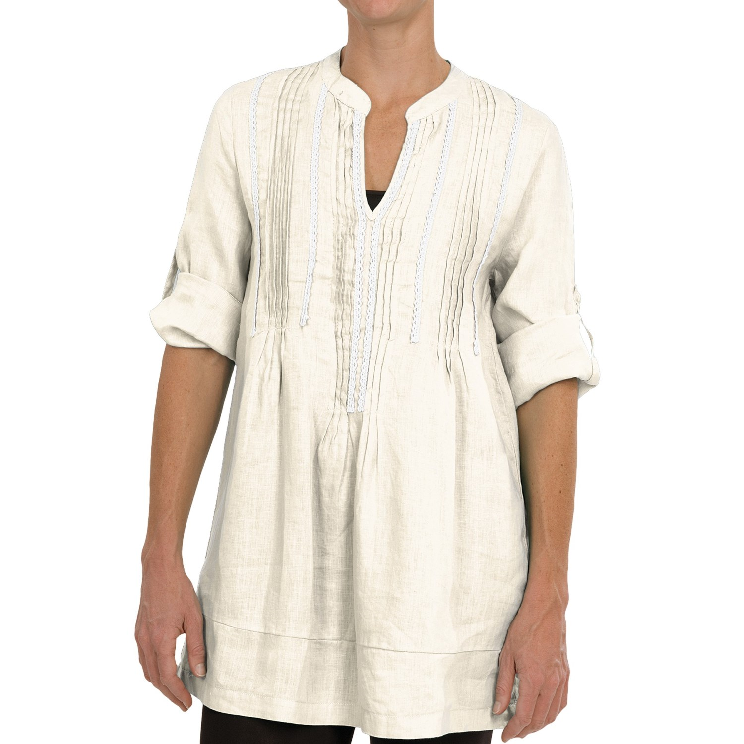 A pintuck tunic in cool gauze is a summer must-have. Pair it with capris and sandals for a casual look you'll love. 30