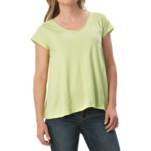 dylan High-Low Stitches Shirt - Organic Cotton, Short Sleeve (For Women) in Faded Citron - Closeouts