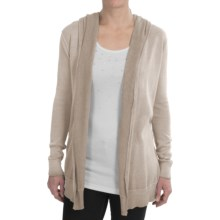 dylan Hooded Soft Cardigan Sweater - Open Front (For Women) in Twig - Closeouts