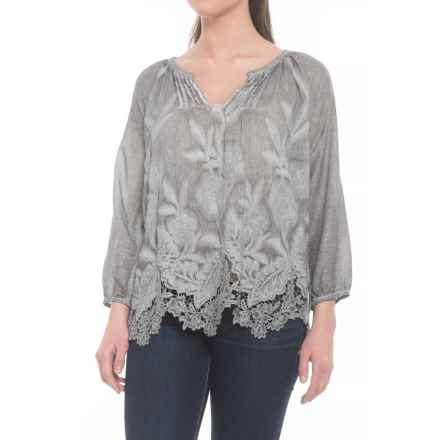 dylan Hudson Pintuck Shirt - Long Sleeve (For Women) in Heather - Closeouts