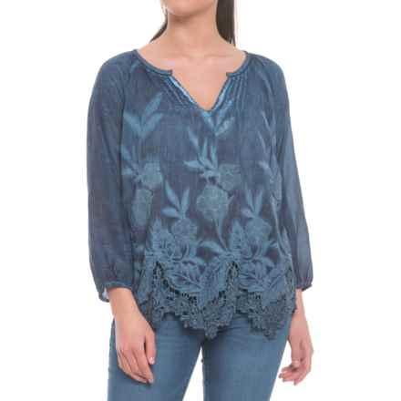 dylan Hudson Pintuck Shirt - Long Sleeve (For Women) in Indigo - Closeouts
