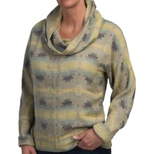 dylan Indian Blanket Jacquard Vintage Shirt - Cowl Neck, Long Sleeve (For Women) in Heather Blue - Closeouts