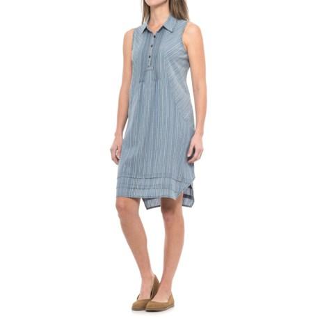 dylan Indigo Stripe Shirt Dress - Sleeveless (For Women) in Chambray