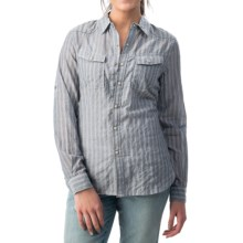 dylan Indigo Triple-Striped Rancher Shirt - Snap Front, Long Sleeve (For Women) in Denim/White - Closeouts