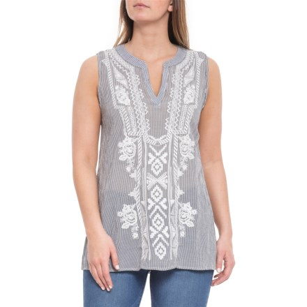 54339ab0ebaaa dylan Indigo White Embroidery Artisan Tunic Shirt - Sleeveless (For Women)  in Indigo -