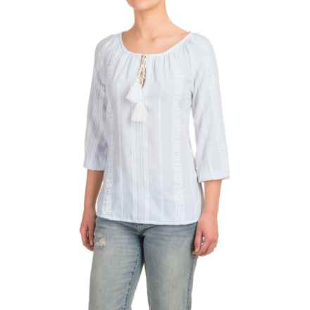 dylan Indio Pony Peasant Top - 3/4 Sleeve (For Women) in Faded Sky - Closeouts
