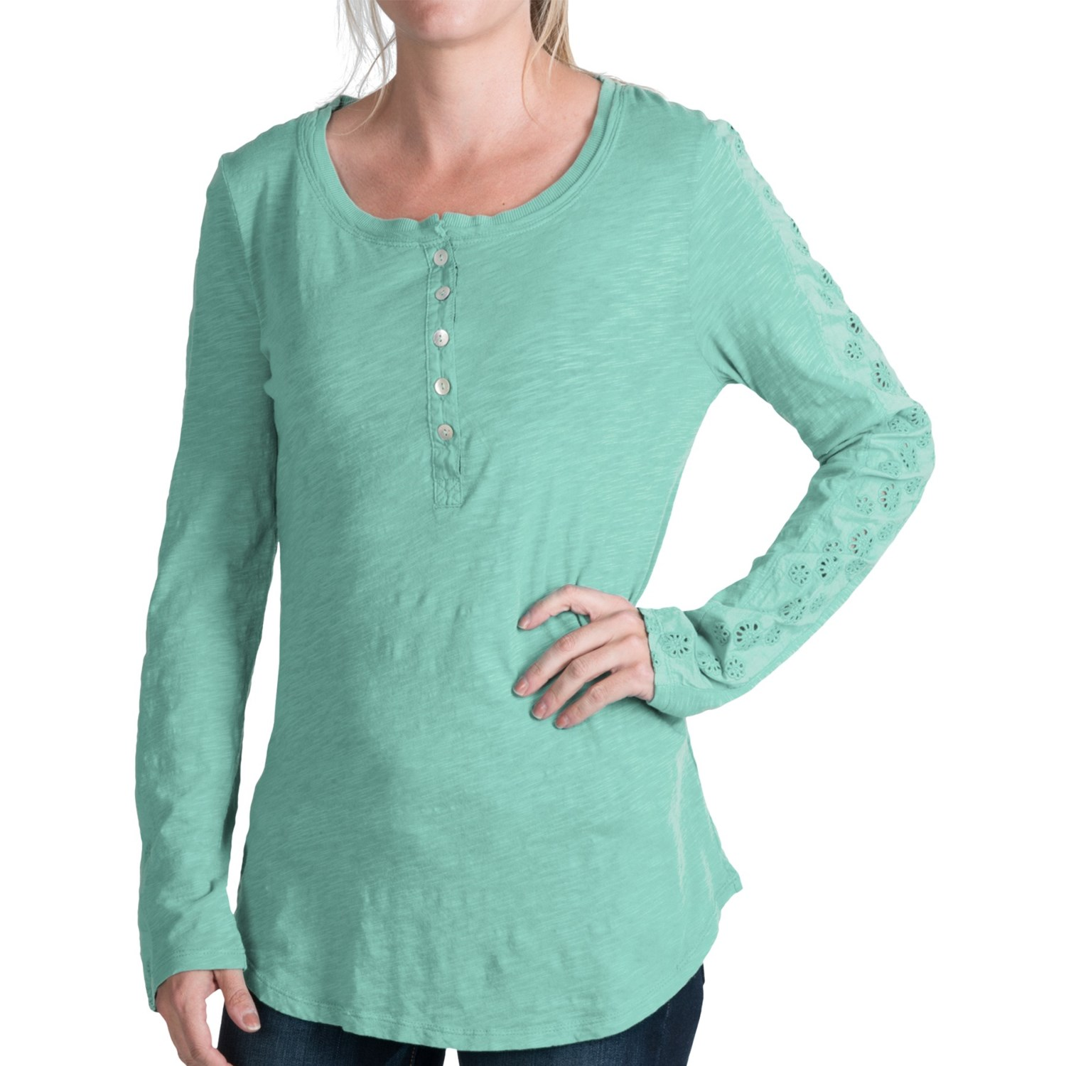 Dylan Lace Detail Henley Shirt For Women Save 82